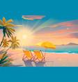 Palm and tropical beach chairs on sandy beach