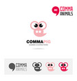 pig animal concept icon set and logo template vector image