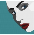 Pop Art young Woman with red Lips vector image vector image