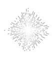 retro sunburst sign black thin line vector image vector image