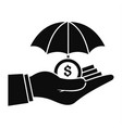 safe money hand icon simple style vector image