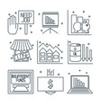 set icons on a theme of economic crisis vector image