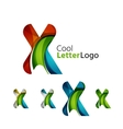 Set of abstract X letter company logos Business vector image