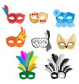 set of multi-colored carnival masks for a festive vector image vector image