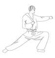 simple sketch of a man doing martial arts vector image vector image