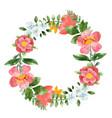 spring floral wreath hand drawn watercolor vector image
