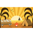 Summer Beach Campground Scene With Camper Van and vector image vector image