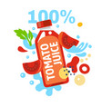 tomato juice with splashing water and leaves and vector image