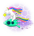 unicorn on a rocket with a magic wand funny vector image vector image