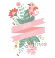 Vintage floral background with cute bird in pastel vector image