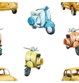 Watercolor retro scooter and car pattern vector image