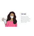 woman wearing medical masc an gloves vector image