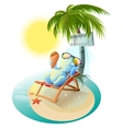 Snowman eating ice cream Snowman in deck chair vector image