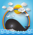 cute cartoon whale vector image