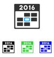 2016 calendar day flat icon vector image vector image