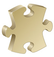 3d metallic puzzle piece vector image vector image