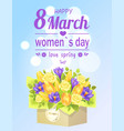 8 march womens love spring poster flower bouquet vector image