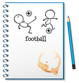 A notebook with a football design vector image vector image