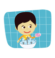 boy hand washing vector image