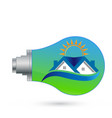 bulb with smart house ecological panel solar vector image