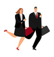 business man and woman running vector image vector image