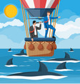 business people on air balloon shark in water vector image