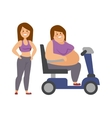 Cartoon character of fat woman and girl sitting vector image vector image