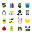 cartoon fitness sport tools icons set vector image vector image