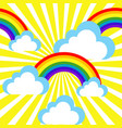 cartoon sky with rainbows and clouds vector image vector image