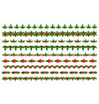 christmas borders dividers with holly leaves set vector image vector image