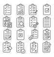 clipboard line icons set on white background vector image vector image