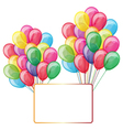 color balloons with banner isolated on white vector image vector image