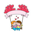couple sitting on a swing with floating balloons vector image
