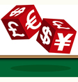 currency dice vector image vector image