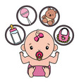 cute little bagirl with set toys vector image vector image