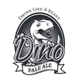 dinosaur craft beer brewery logo concept T vector image vector image