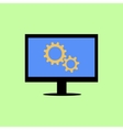 Flat style computer with gear wheels vector image vector image