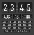 Flip clock template with time date and day vector image vector image