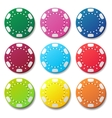 Gambling casino poker chips color sign vector image vector image