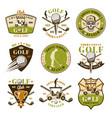 golf set nine colored emblems or badges vector image vector image