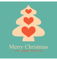 greeting card with christmas tree and hearts vector image vector image