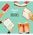Hands with books vector image vector image