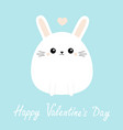 happy valentines day white bunny rabbit icon vector image vector image