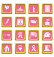 independence day flag icons pink vector image vector image