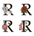 letters r with flowers bouquet vector image