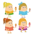 Little girls with ice cream set vector image