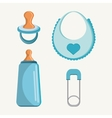 Pacifier bottle and baby bib design vector image vector image
