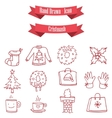 Red icon set of Christmas vector image vector image