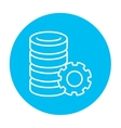 Server with gear line icon vector image vector image