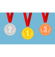 set gold bronze and silver medals on red vector image